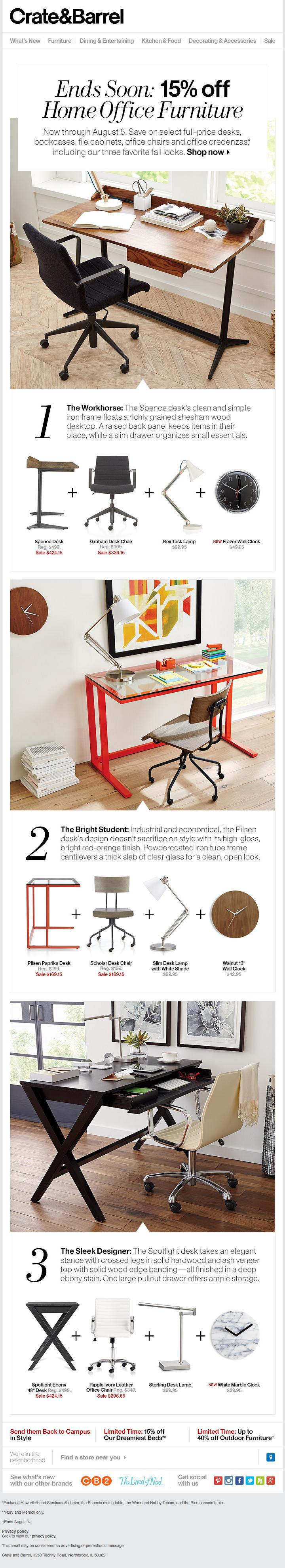 C&B - 15% off Home Office Furniture Sale   e@ds   Pinterest