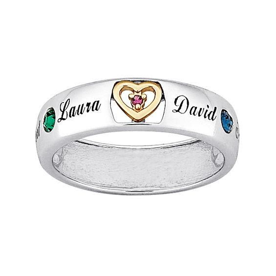 Zales Mothers Simulated Birthstone Ring in Sterling Silver and 14K Gold Plate (2-5 Stones and Names) SFZfcH