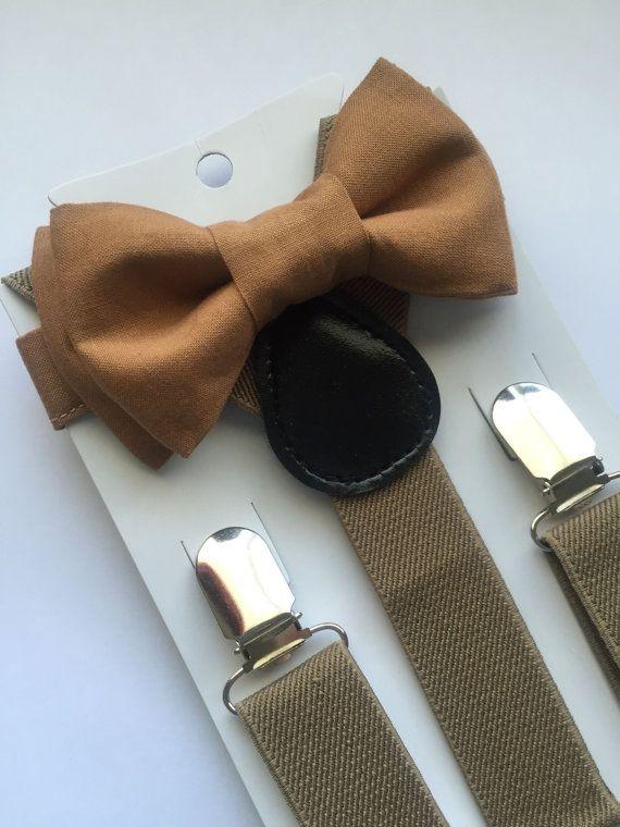 brown bowtiebeige suspenders set brown bow tie set