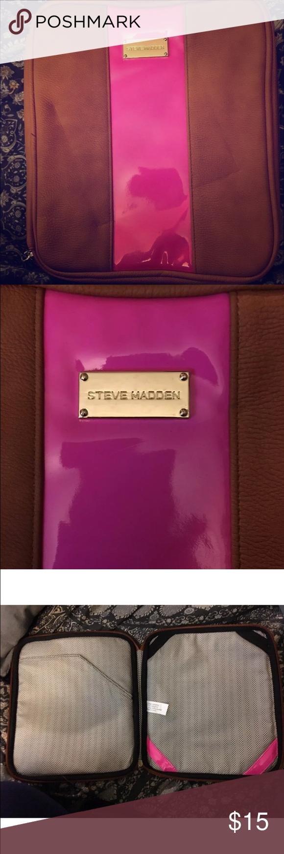 """Steve Madden IPad Case Brown with a Bright Electric Pink stripe right down the middle. Zipper closure. Inside left has """"folder"""" type spot for storage and the inside right has straps to keep items in place. Steve Madden Accessories Tablet Cases"""