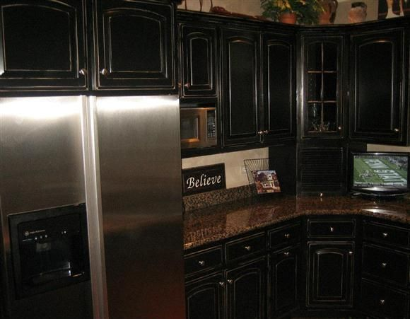 Distressed Black Kitchen Cabinets distressed kitchen cabinets | to create distressed black kitchen