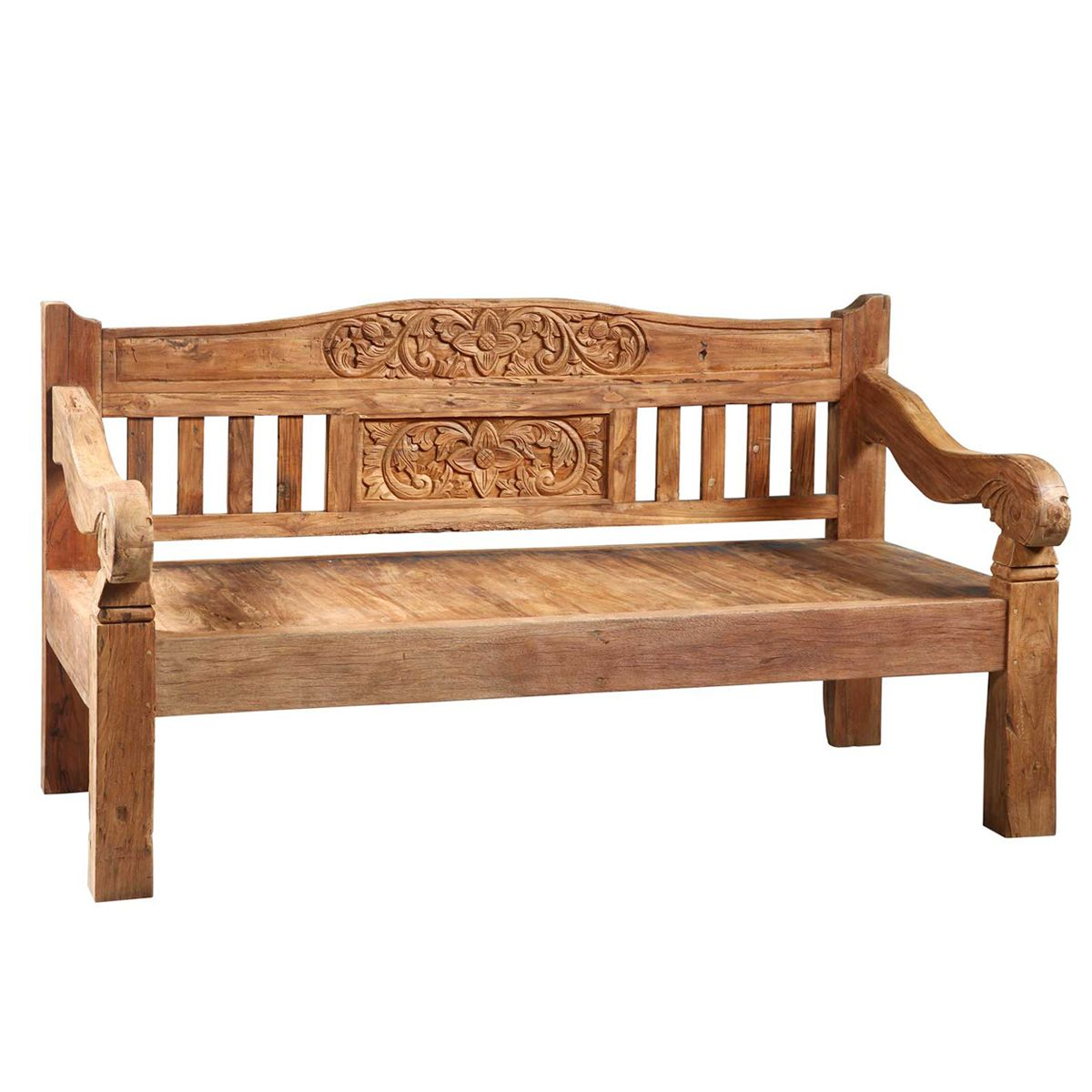 Balinese teak carved daybed bench floral