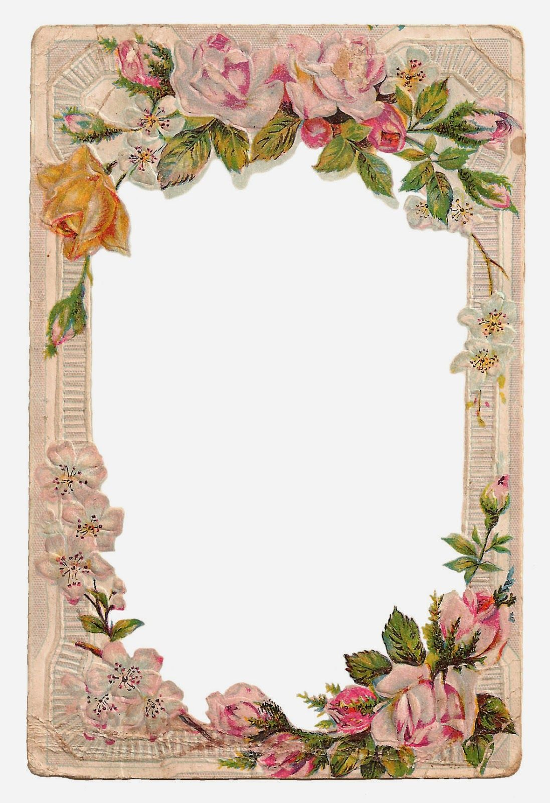 Antique Images Free Digital Flower Frame with Roses and