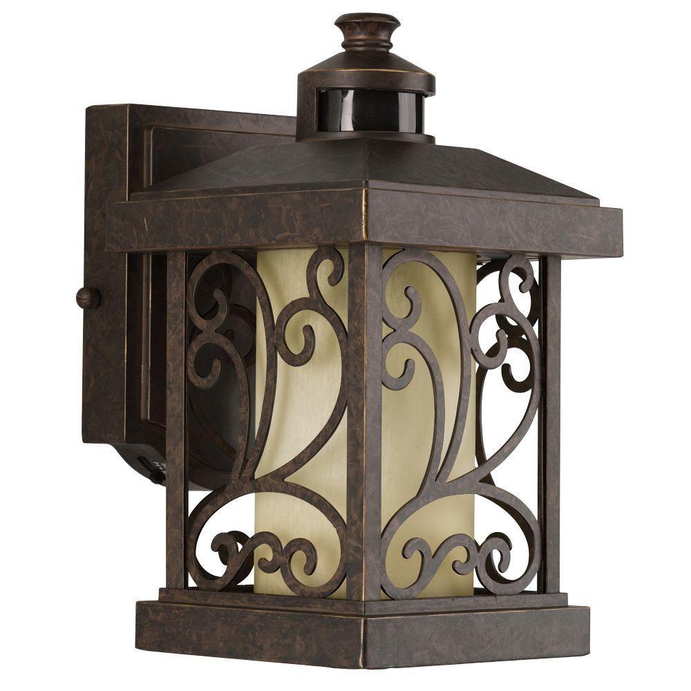 Progress Lighting Cypress Collection Wall Mount Outdoor 1 Light Forged Bronze Motion Sensor Lantern