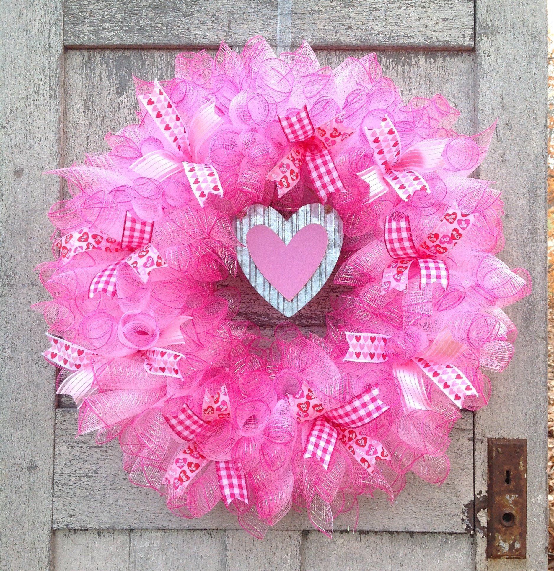 Valentine Pink Heart Deco Mesh WreathValentine WreathPink Valentine WreathPink Poke A Dot Valentine WreathValentine Heart Wreath
