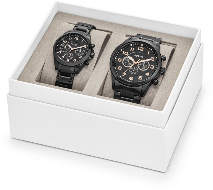 a1ce8cf5ee5c Fossil His and Her Chronograph Black Stainless Steel Watch Gift Set ...
