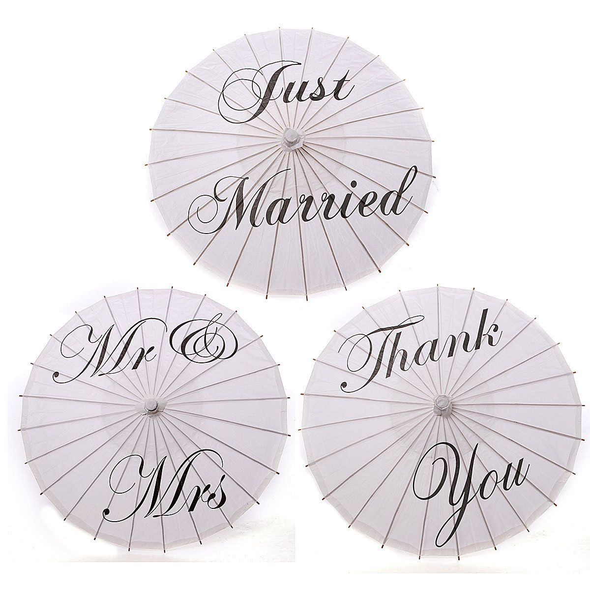 Bamboo White Paper Parasol Umbrella Just Married Mr & Mrs Thank You ...