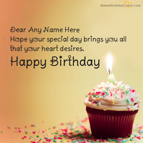 write name on Cupcake Birthday Wish picture Birthday