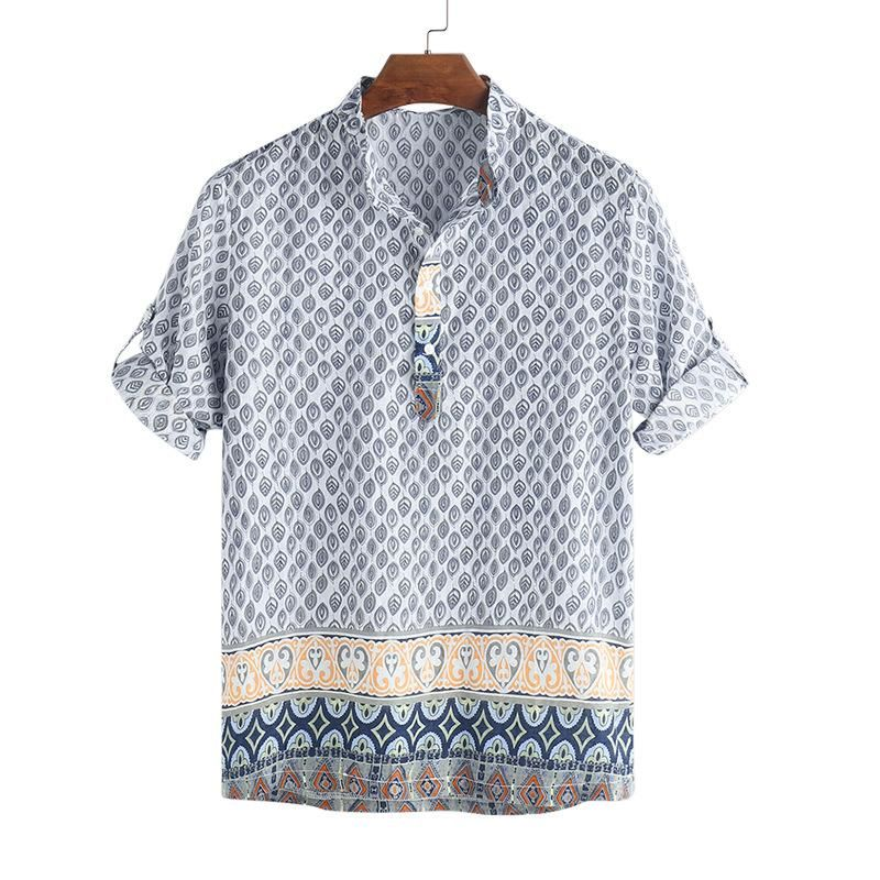 Mens Vintage Ethnic Style Printing Loose Long Sleeve Stand Collar Casual Shirt Men Button Down Shirts