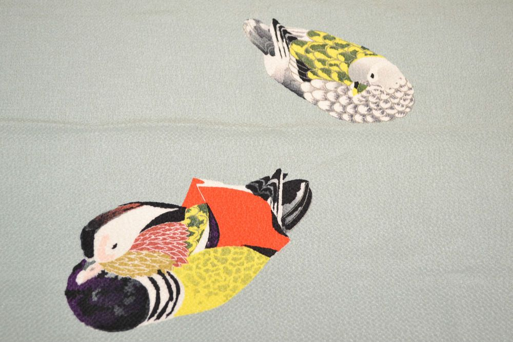 VINTAGE SILK FUROSHIKI WRAPPING:Lovely Lovebird Couple@J34a