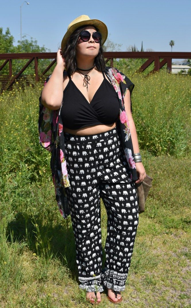 0c57baafe30 Plus size elephant pants -- Forever21 Coachella music festival crop top  outfit. rock the crop. Plus size crop top. Plus size hipster. Plus size  indie style. ...