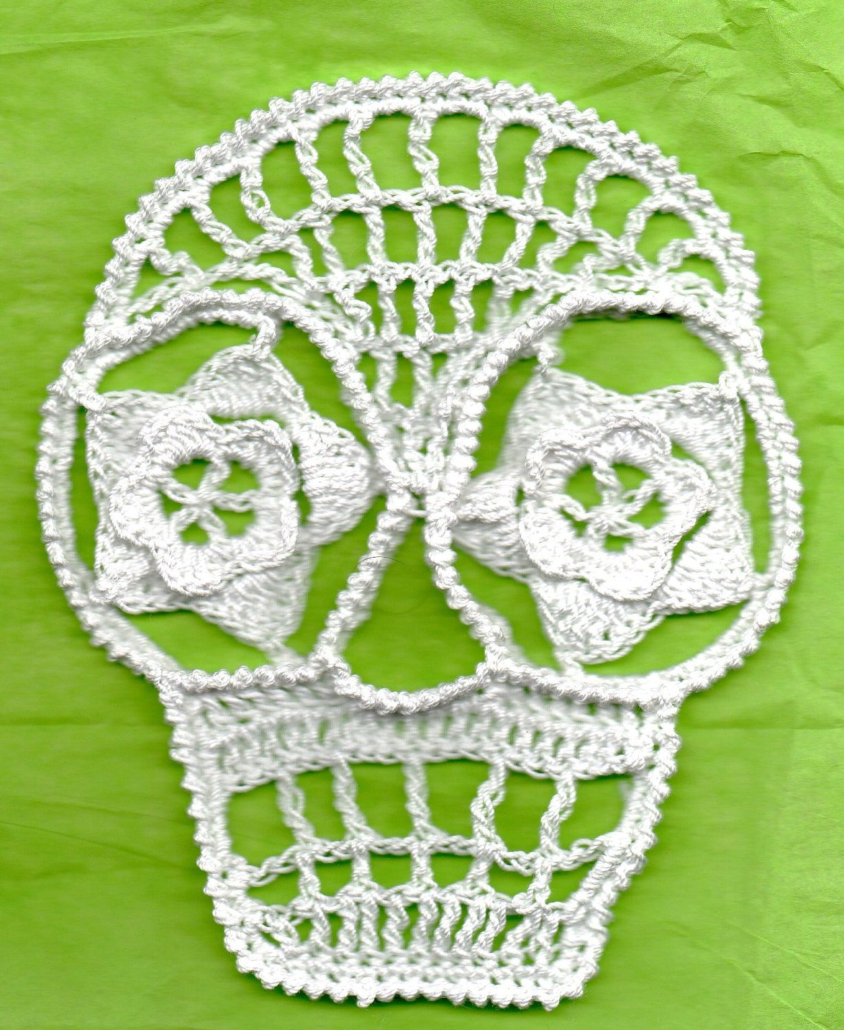 Blanca Day Of The Dead Or Halloween Crochet Skull Appliques ...