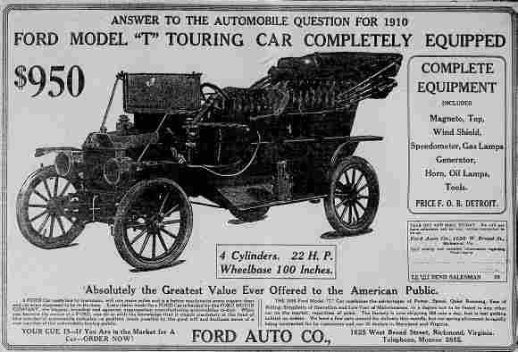 1910 For A Whopping 950 You Could Own Your Very Own Ford Model