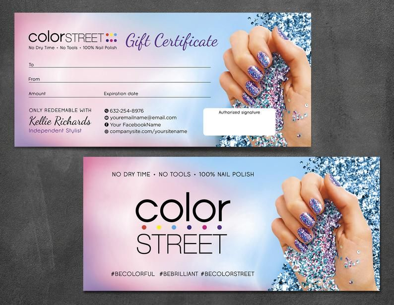 Color Street Gift Certificate Color Street Gifts Color Etsy Color Street Color Street Nails Dollar Tree Gifts