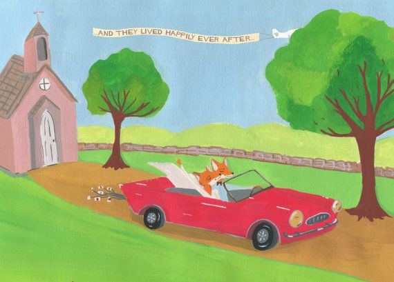 Fox Wedding Card Just Married Car And They Lived by HutchCassidy