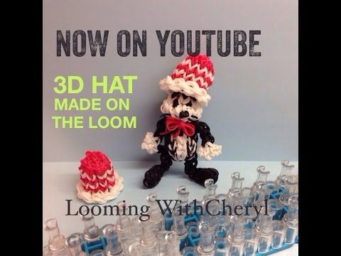 Rainbow Loom 3D HAT for The Cat In The Hat - Looming WithCheryl. Tutorial is Now on YouTube! charms / figures / gomitas / gomas. Please Subscribe ❤️❤ m.youtube.com/user/LoomingWithCheryl