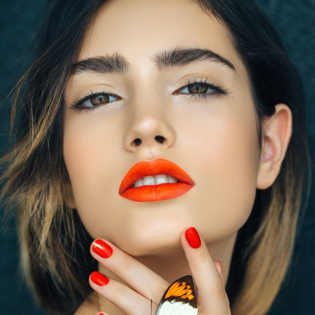 Orange lips and ombre hair #beauty