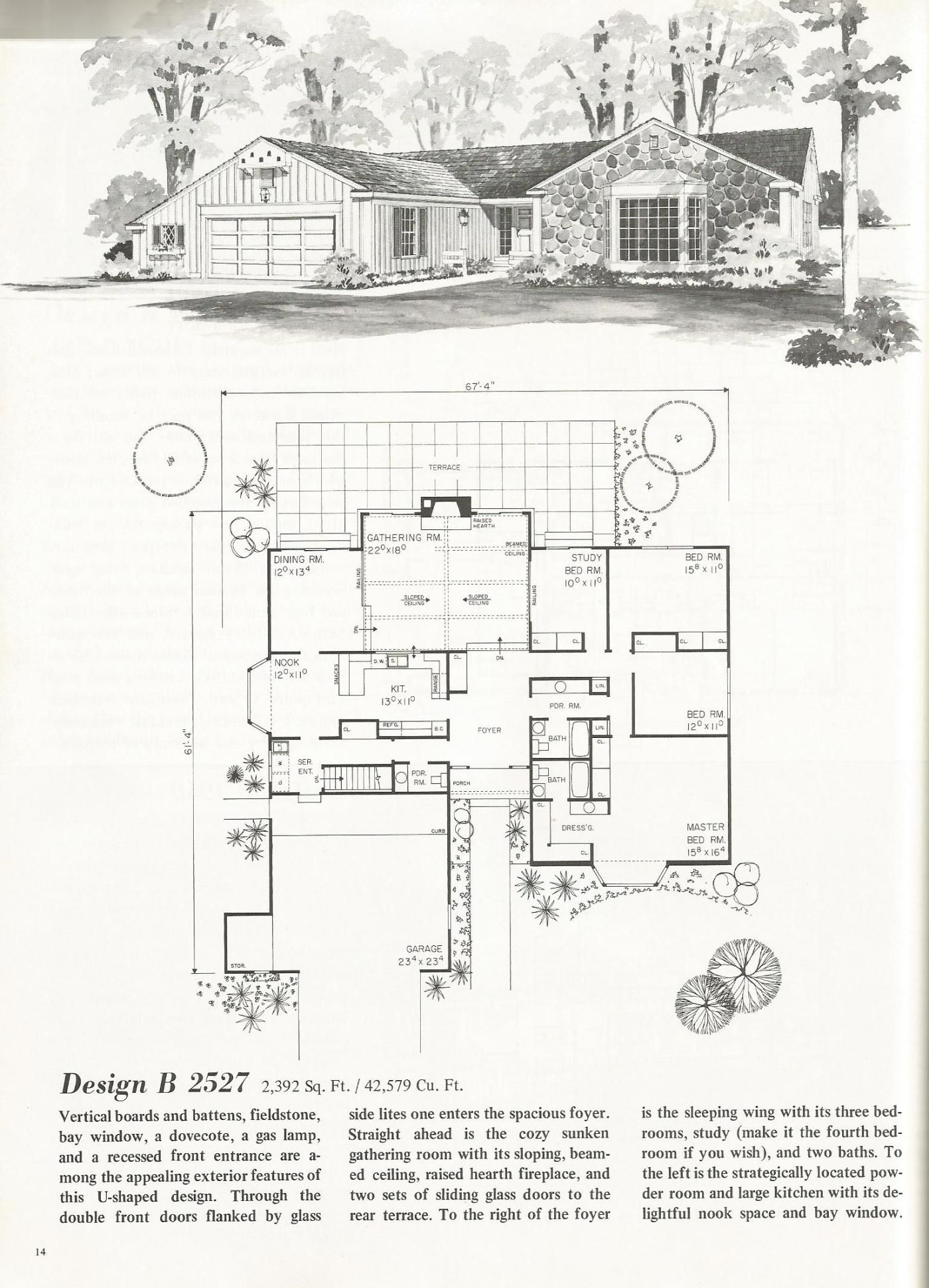 Vintage House Plans: U Shaped Homes Over 2000 Square Feet