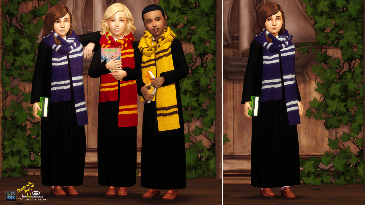 Magical Wonders 1 Closed Robe Children Unisex 4 Swatches Base Game Sims 4 Clothing Harry Potter Robes Sims 4