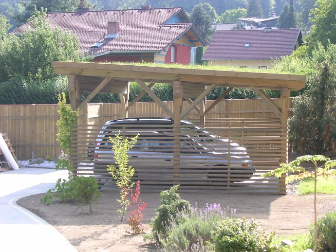 carport mit gr ndach aus kesseldruckimpr gniertem holz carport holz pinterest architektur. Black Bedroom Furniture Sets. Home Design Ideas