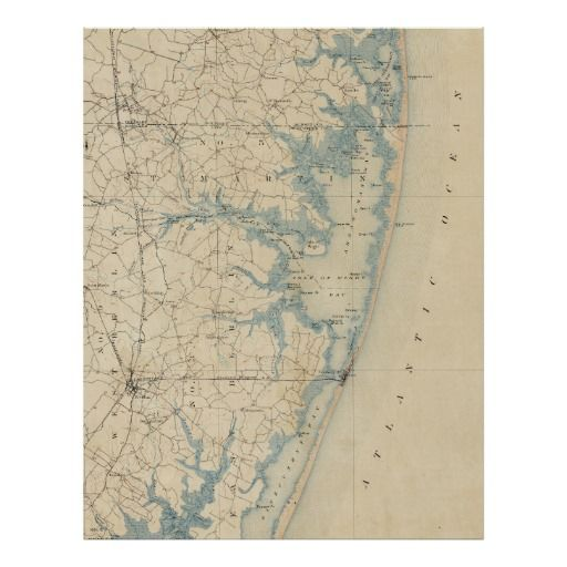 Vintage Map Of Ocean City Maryland Poster Vintage Maps - Ocean city md map