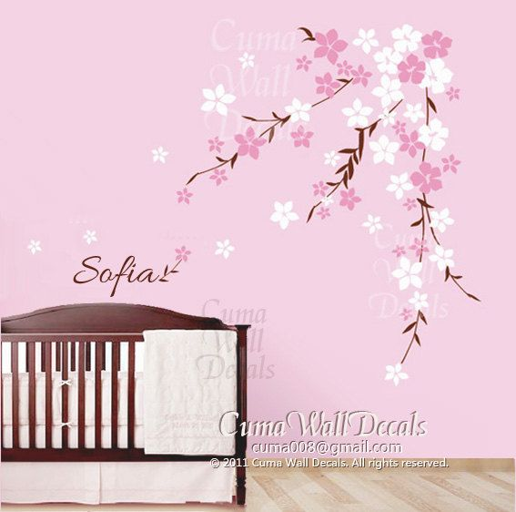Wall Art   Cherry Blossom Wall Decals Flower Vinyl Wall Decals Tree Nursery Wall  Decals Sticker Part 23