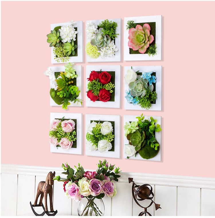 New Metope Succulent Plants Plastic Photo Frame Wall Decoration Artificial Silk Rose Flowers Home Decor Living