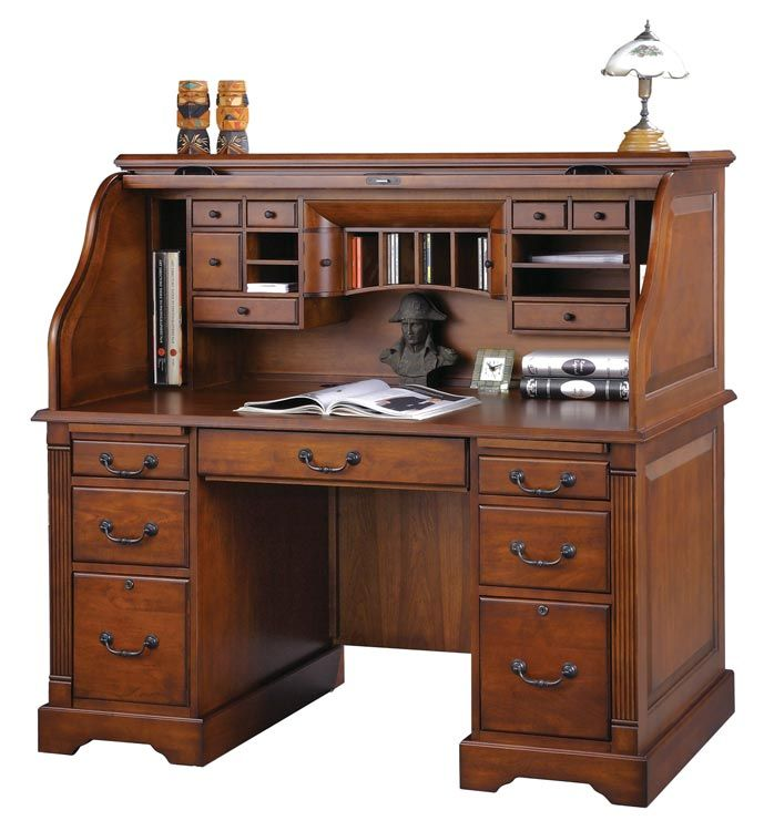 I love roll top desks, especially in dark wood like this. Too bad they