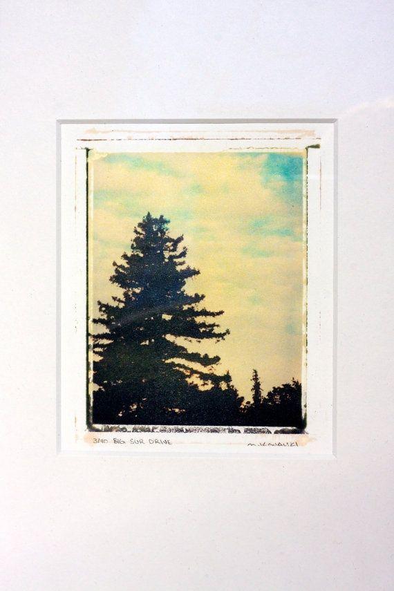 Big Sur Drive - original polaroid transfer, matted 8x10 by