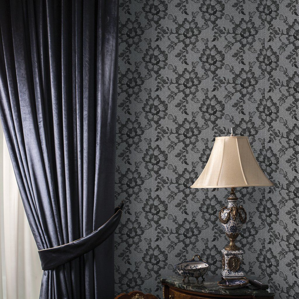 lace wallpaper by tempaper in smokey black on adorn house  smoke     lace wallpaper by tempaper in smokey black on adorn house  smoke  wallpaper   decor  interiordesign  design  interiors