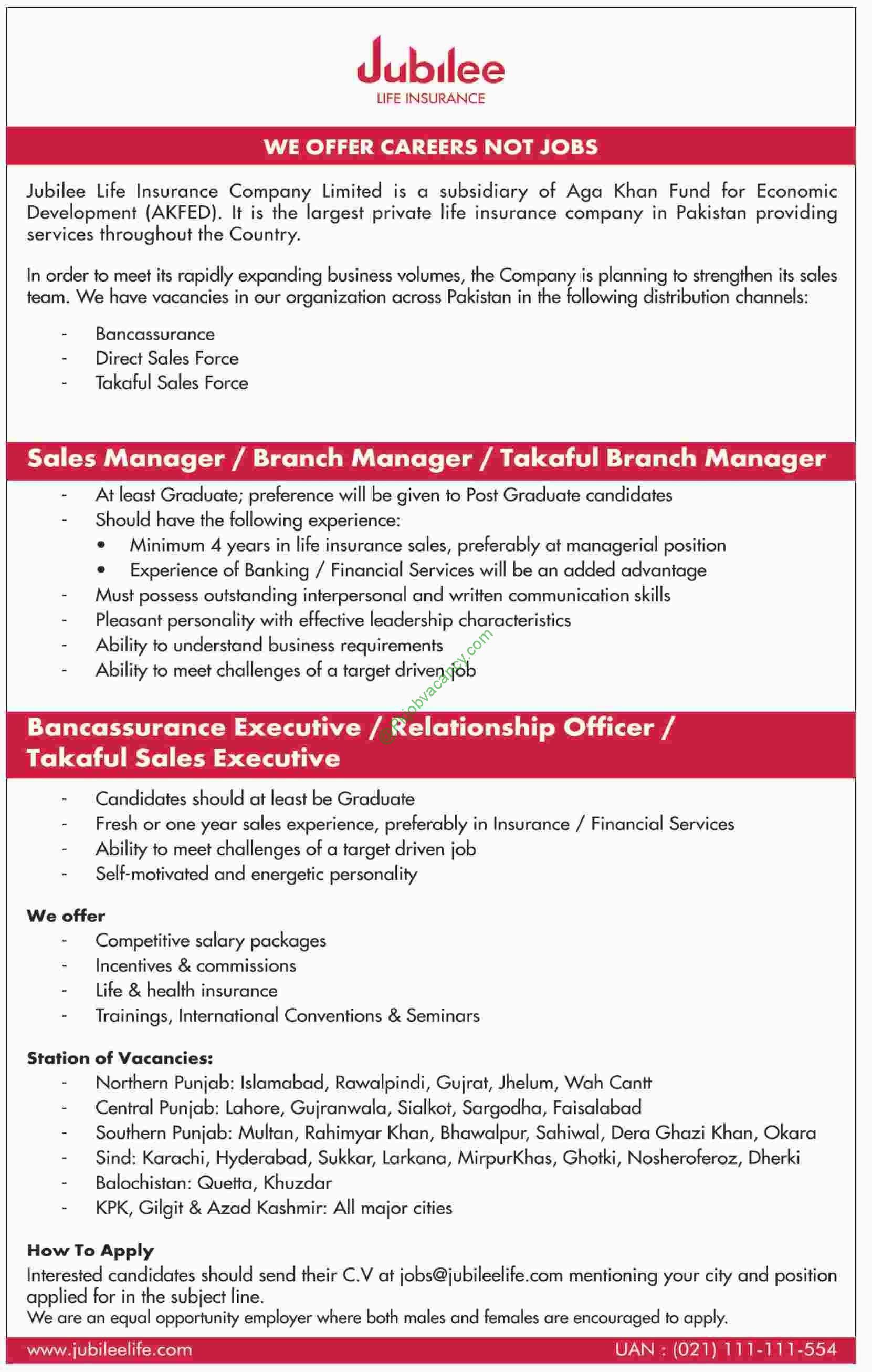 Jubilee Life Insurance Pakistan Latest Jobs January 2017 Apply