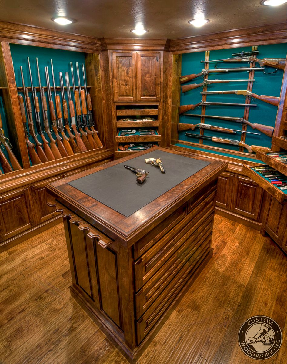 American black walnut gun room beautiful display for your for Walk in gun room plans