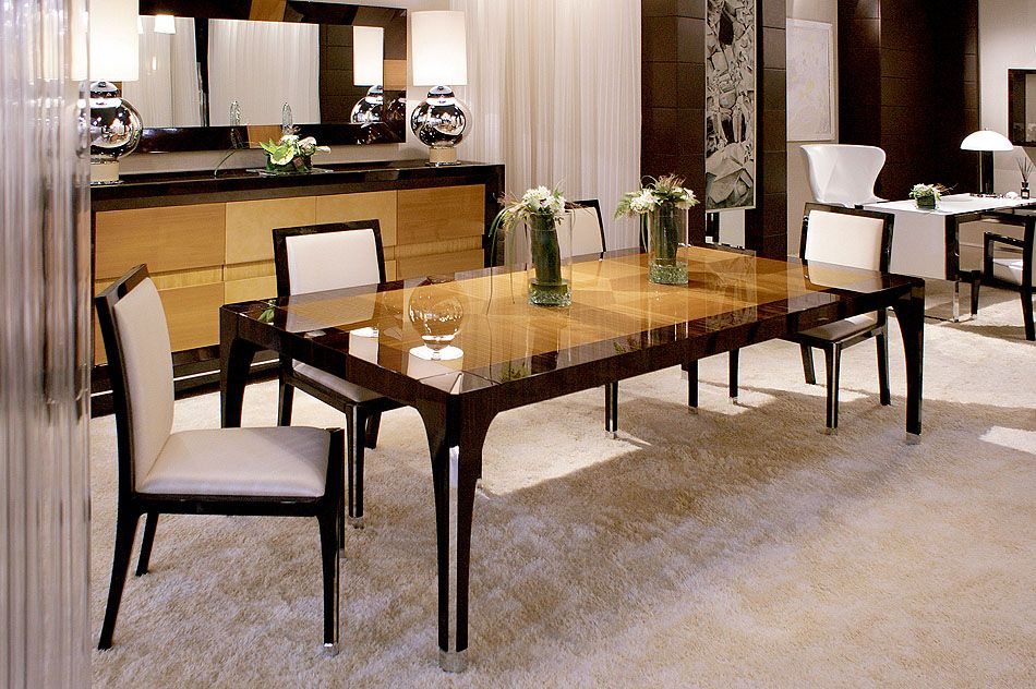 Gl R I Table Macar Ebony Elm High Gloss With Top And Nickel Detail