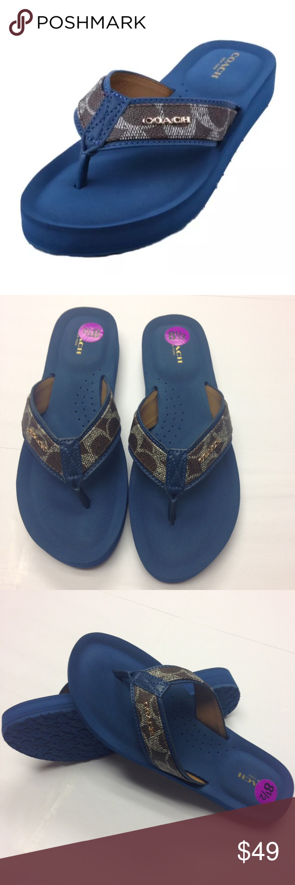 fc29291169f9 Authentic Coach Judy Flip Flops Sandals 100% Authentic New Without Box Coach  Judy Brown