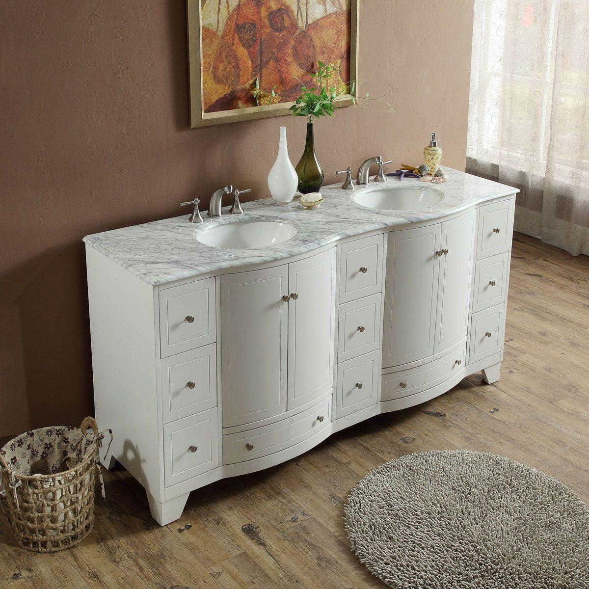 Silkroad Exclusive 72 Inch Transitional Bathroom Vanity Double