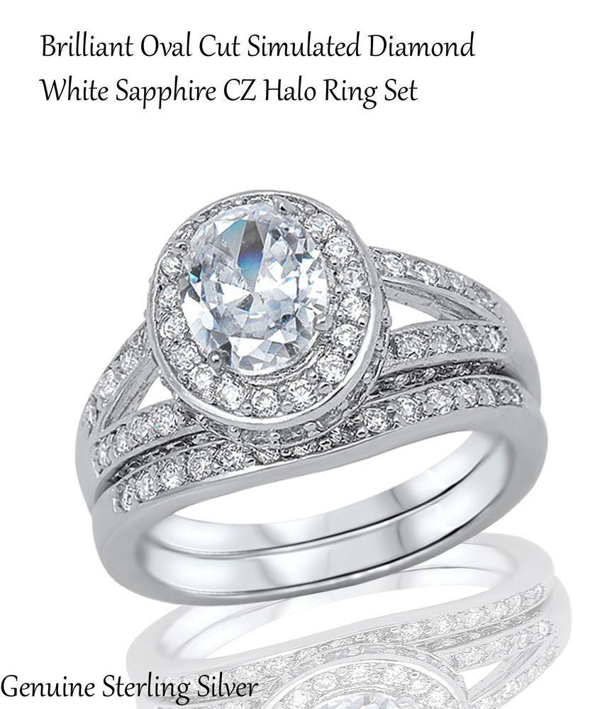 White Sapphire Brilliant Cut Engagement Wedding Genuine Sterling Silver Ring Set