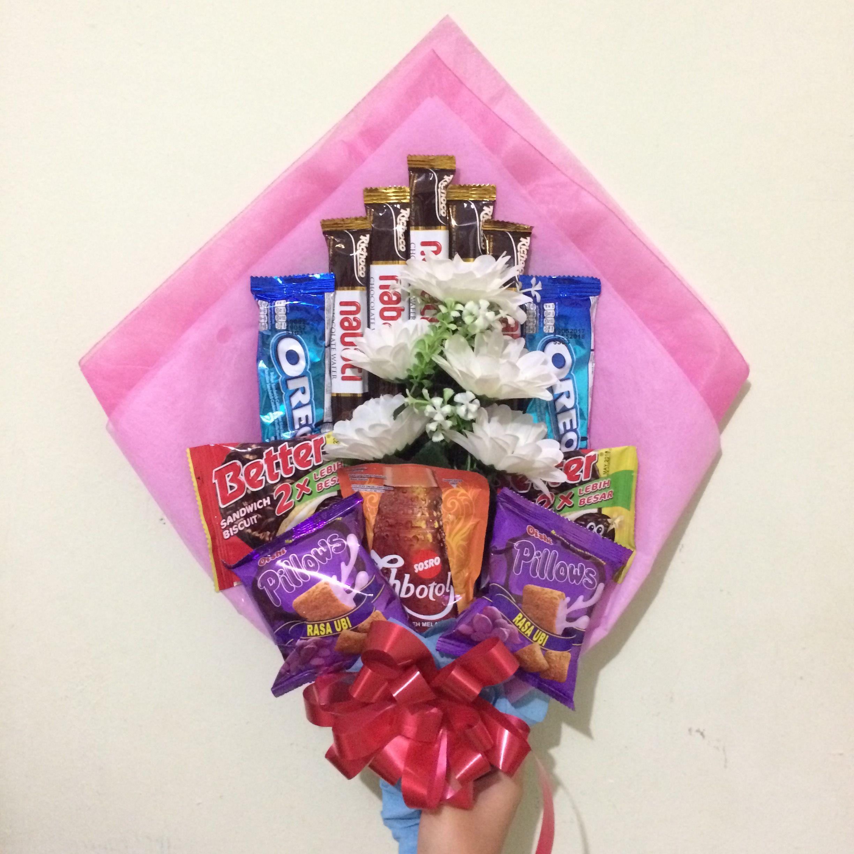 Simple Snack Chocolate Bouquet Buket Makanan Untuk Wisuda Hadiah Ide Pesta Ide Hadiah Pita Bunga