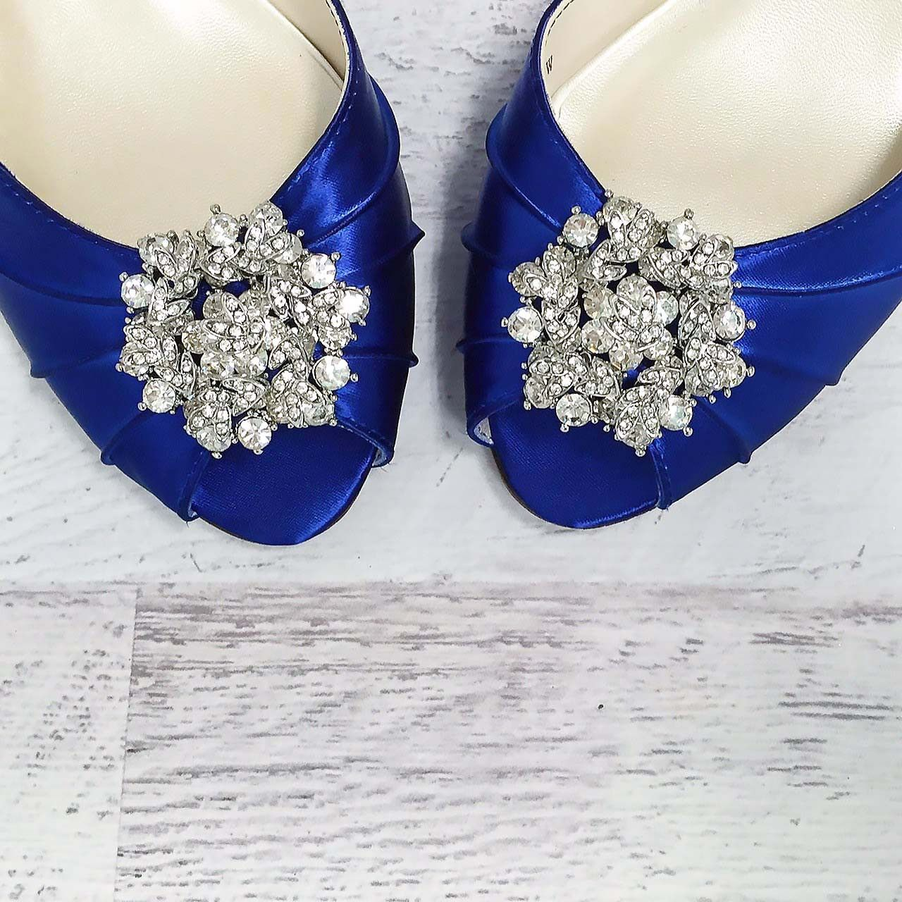 Royal Blue Kitten Heel Peep Toe Wedding Shoes With Classic Cluster