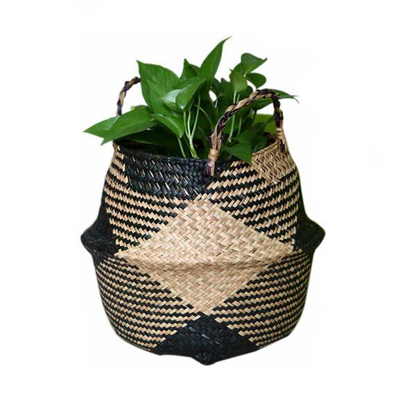 Handmade Wicker Rattan Flower Basket Plant Pot Holder Home Wall Hanging Decor UK