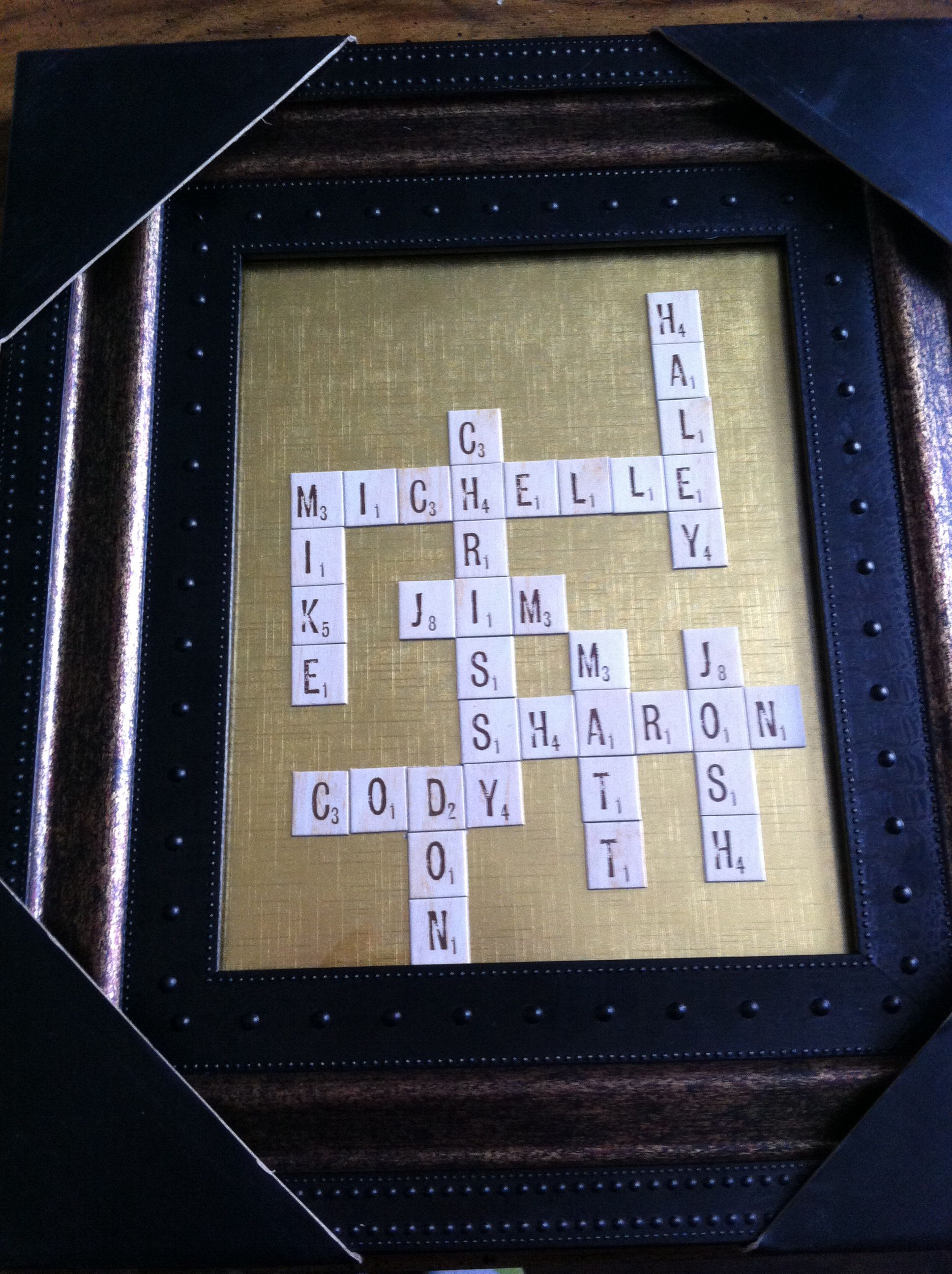 parents anniversary present all our names in scrabble tiles and