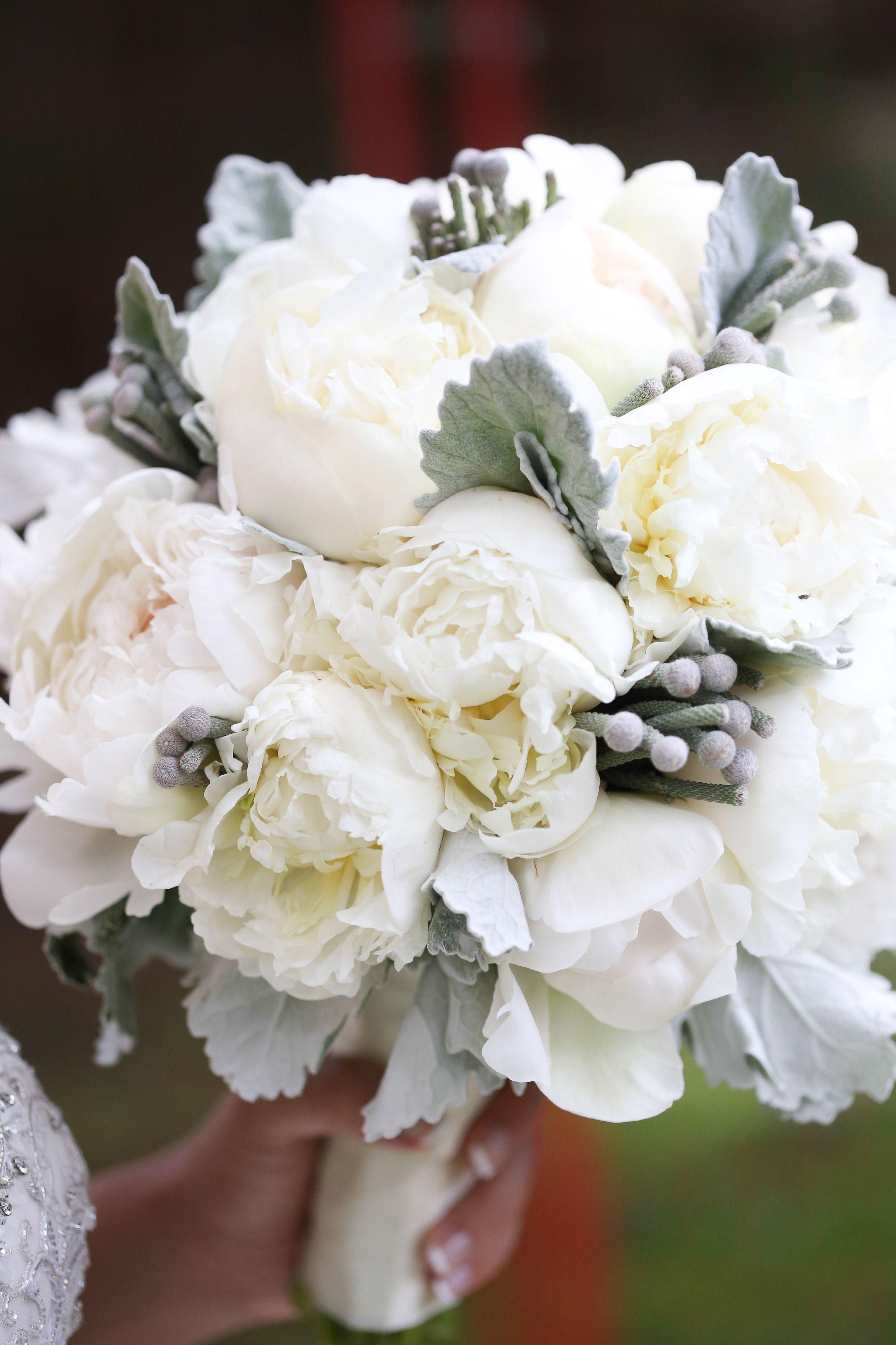 Creamy White Peony #Bouquet | See the wedding on SMP - http://www.StyleMePretty.com/canada-weddings/alberta/edmonton/2014/01/08/glamorous-garden-wedding-at-the-fairmont-hotel-macdonald/ Photography by Benamoz Ltd.