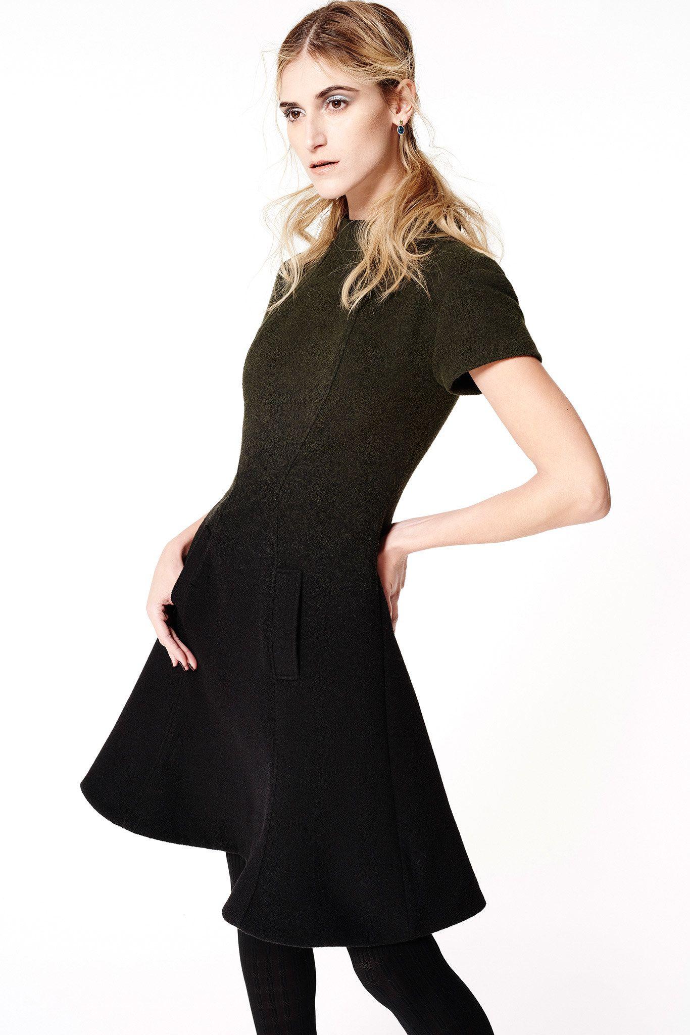 ZAC Zac Posen | Fall 2015 Ready-to-Wear | 01 Green/black short sleeve mini dress