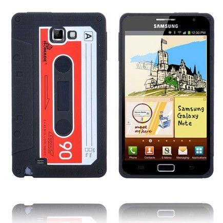 Retro Kasetti Suojakuori (Musta) Samsung Galaxy Note Silikonisuojus