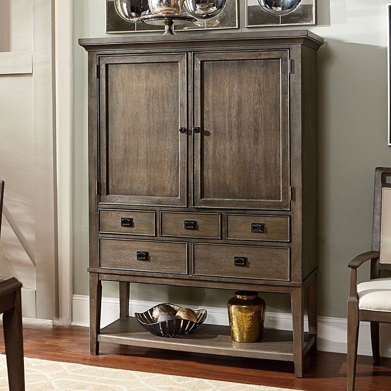 American Drew Park Studio 2 Door Mirrored Back Bar Cabinet In Taupe