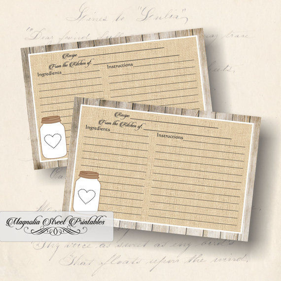 Printable Rustic Mason Jar Recipe Card 4 X 6 Burlap And Barn Wood Country Theme Bridal Or Kitchen Shower Instant Download Rustic Recipe Cards Recipe Cards Printable Recipe Cards