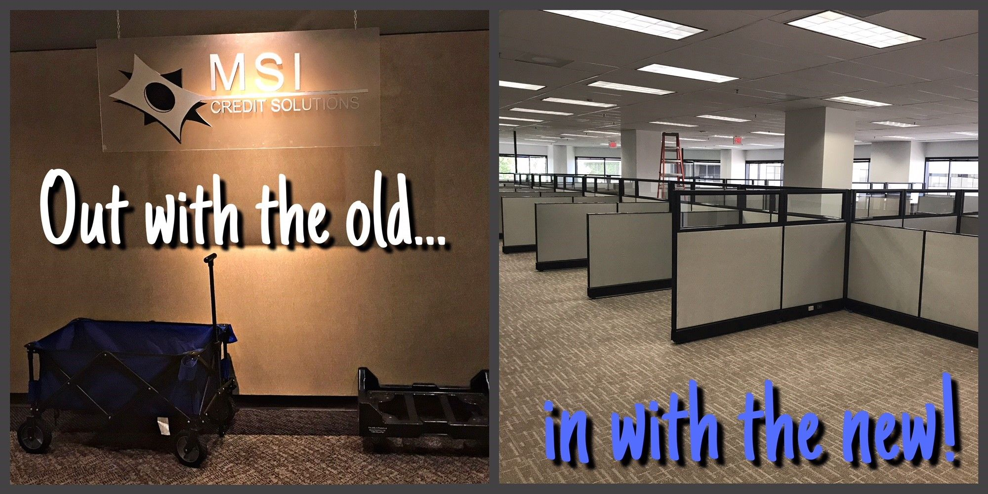 Today we say goodbye to our current office. As of next
