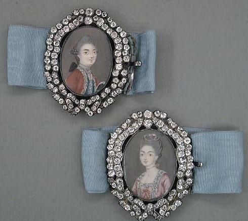 Rare pair of eighteenth century French portrait miniatures in paste frames