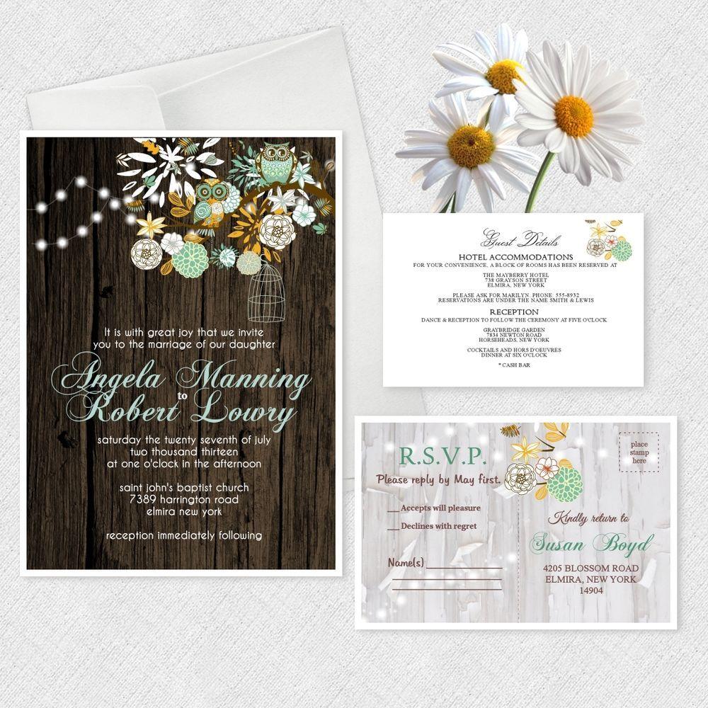 Owl Wedding Invitations Owls Bridal Shower Invitation Theme Rustic ...