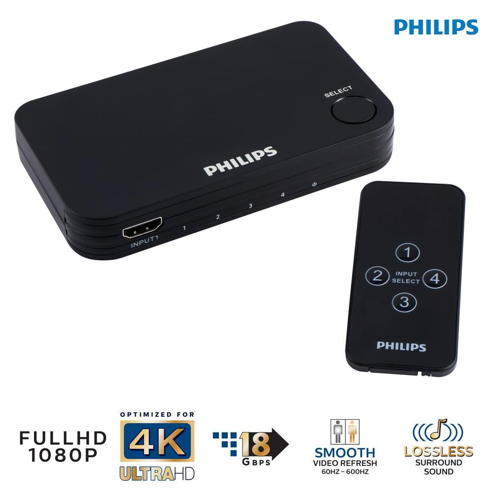 4-Port HDMI Splitter Switch with Wireless Remote Control in