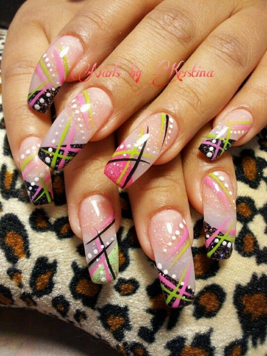 Retro Nail Art In Pink Green Black And White Nails By Kristina
